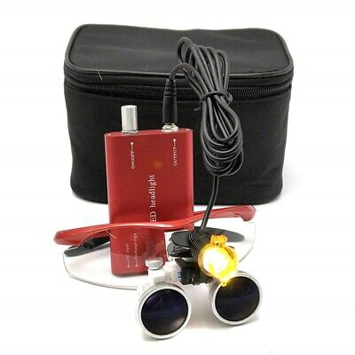 Dental Medical 3.5x Binocular Loupes 3w Led Head Light With Filter Red Bag