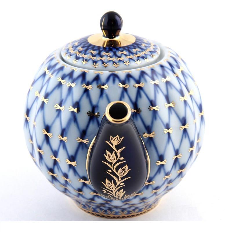 "Russian Imperial Lomonosov Porcelain Teapot ""Cobalt Net"". NEW"