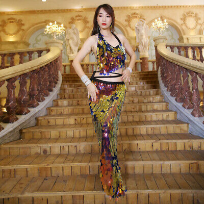 Women Belly Dance Costume Strip Top & Sequins Mermaid Hip Scarf Waist Warp Skirt Belly Dance Mermaid Skirt