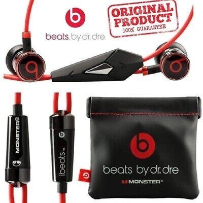 Genuine Monster Beats By Dr. Dre iBeats In-Ear Earphones Headphones Black/Red UK