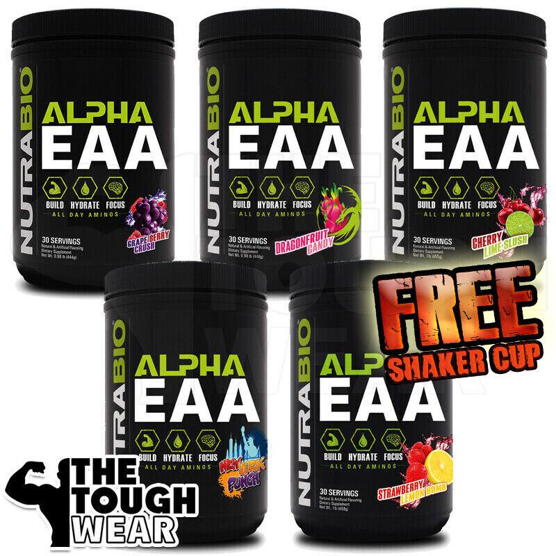 NUTRABIO - ALPHA EAA 30serv -5 Flav- All Day Aminos. Hydrate.Focus + FREE SHAKER