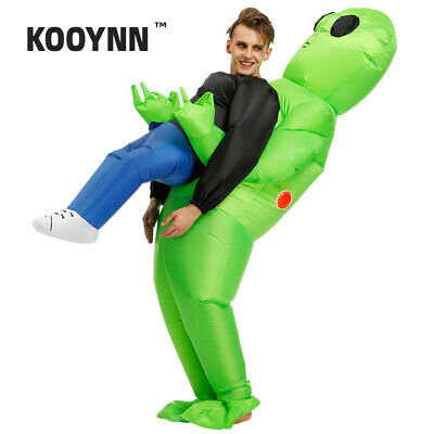 Kooynn Inflatable Green Alien Costume Adults Kids Pick Me Up Monster Halloween  - Child Alien Costume