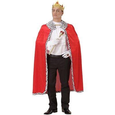 S00098 UMHANG KÖNIG mit Krone - Pannesamt  Königskostüm Mantel Umhang Herr (König Umhang Kostüme)