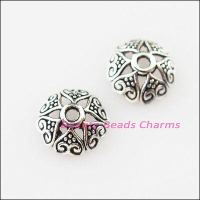 30Pcs Tibetan Silver Heart Flower End Bead Caps Connectors 8mm