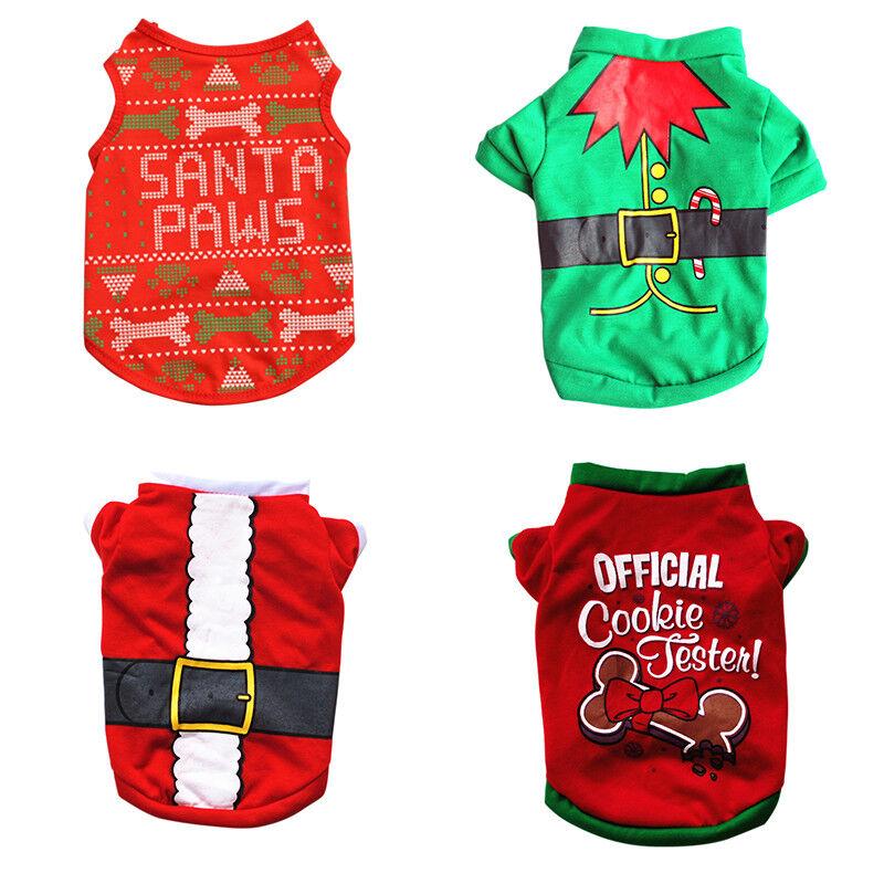 Pet Dog Cat Christmas Santa Clothes Puppy Warm Jumper Costume Outfit Vest UK 3