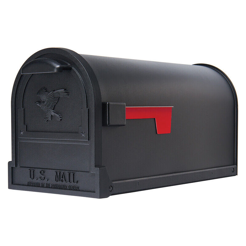 Heavyduty Galvanized Steel Post Mount Mailbox Powder Coated Large Capacity Black