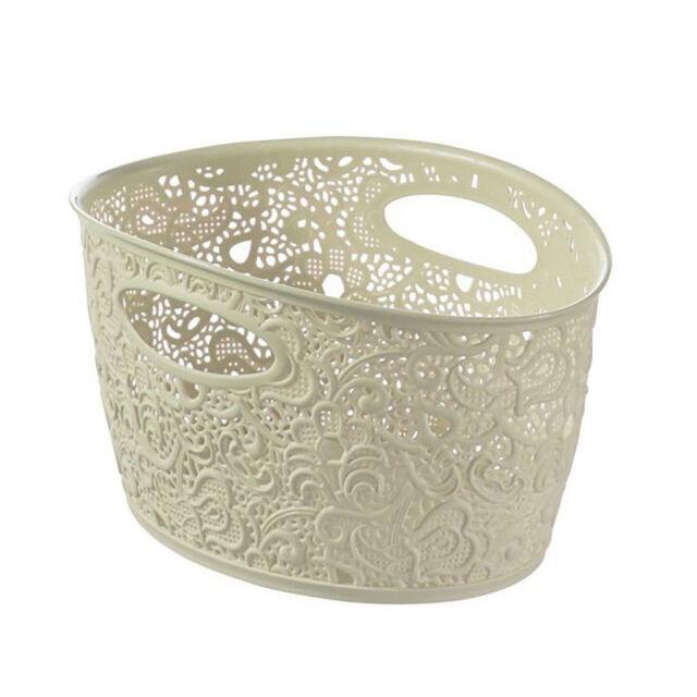 Curver Lace Effect Storage Basket, 7 Litre - Cream