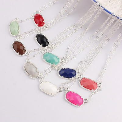 - New Silver Color Chain Mini Oval Choker Necklace Pendant Women Famous Jewelry