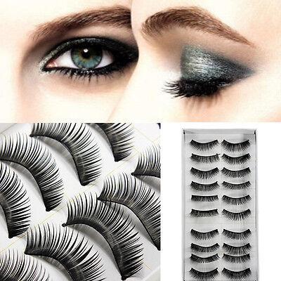10Pairs Long Cross False Eyelashes Makeup Natural Fake Thick Black Eye Lashes US