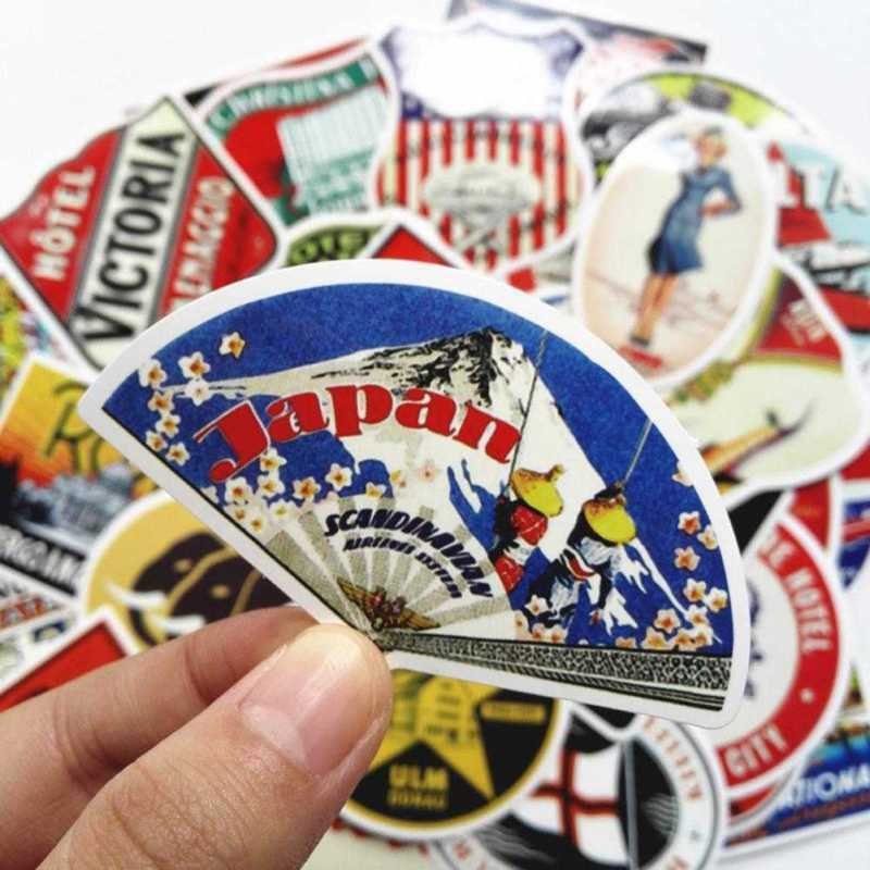 55 Retro Vintage Old Fashioned Style Luggage Suitcase Travel Stickers Gift us