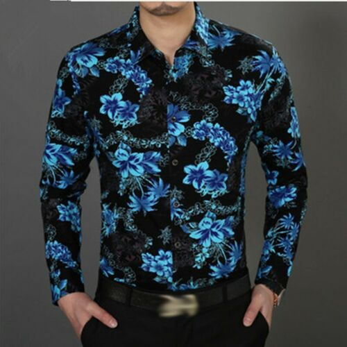 Mens Cap Sleeve Slim Shirts Lapel Formal Slik Embroidery Flowers Hollow Floral J