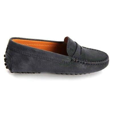 Tod's Kids Slip-on Moccasins Suede/Leather/Rubber Size 11 Gray (Retail $250)