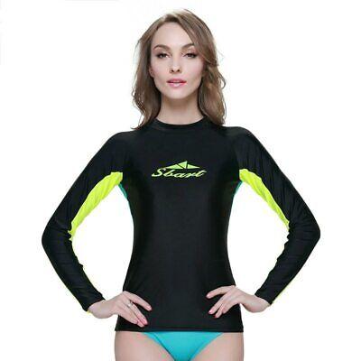 Women Long Sleeve Rash Guard Sun Shirts Upf50+ Surf Lycra Swimwear Top Swimsuit
