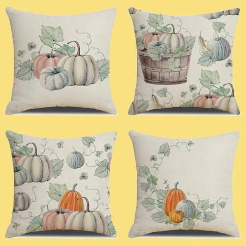 Halloween Leaf Pumpkin Pillow Case Waist Throw Cushion Cover