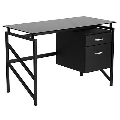Contemporary Sleek Black Glass Desk Wtwo Drawer Pedestal - Office Computer Desk