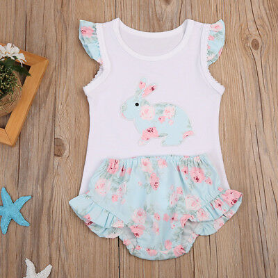 NEW Easter Bunny Rabbit Baby Girls White Shirt Blue Ruffle Bloomers Outfit Set