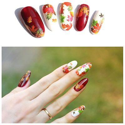 HOT DS Adesivi per unghie FOGLIE d'AUTUNNO tattoo nail ART water decals NAIL GEL