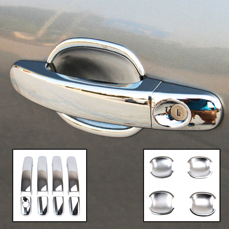 Fit For 05-11 Ford Focus 2 Mk2 Chrome Door Handle Bowl Cover Trim Cup Cap 2in1