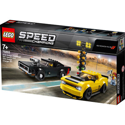 LEGO 75893 Speed Champions 2018 Challenger SRT Demon and 1970 Dodge Charger R/T Building Kit, Colourful