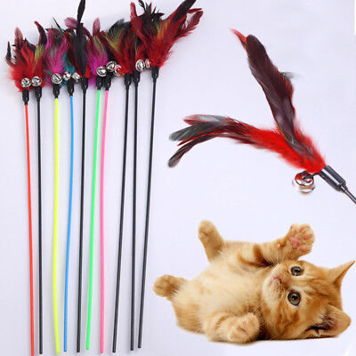 Cat Feather Natural (Make A Cat Stick Feather Random Color Natural With Small Bell 1PCS Cat)