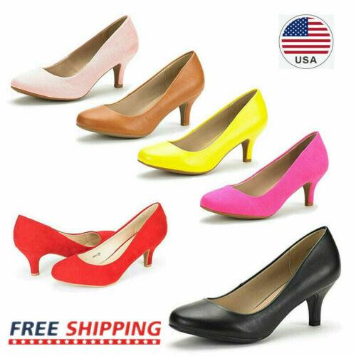 Women Ladies Wedding Party Low Heel Pump Shoes Comfort Slip On Dress Shoes