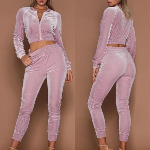 2pc Women Hoodies Sweatshirt Pants Sets Velvet Tracksuit Jogging Gym Sport Suit