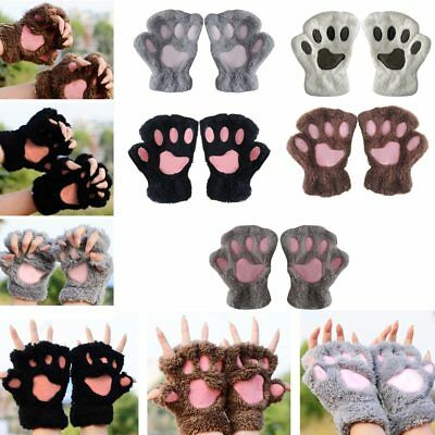 Winter Warm Girls Bear Cat Paw Furry Fuzzy Thicking Half Finger Gloves Mittens - Cat Paw Gloves