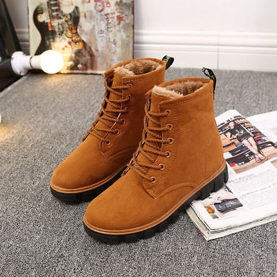 (Womens Winter Warm Suede Ankle Snow Boots Fur Lined Casual Flats Lace up Shoes)