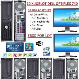 10 X JOBLOT DELL OPTIPLEX 740 - FULL COMPUTER SETUP'S - WIN 7 - OFFICE 2010 - 2GB RAM - 80GB HDD