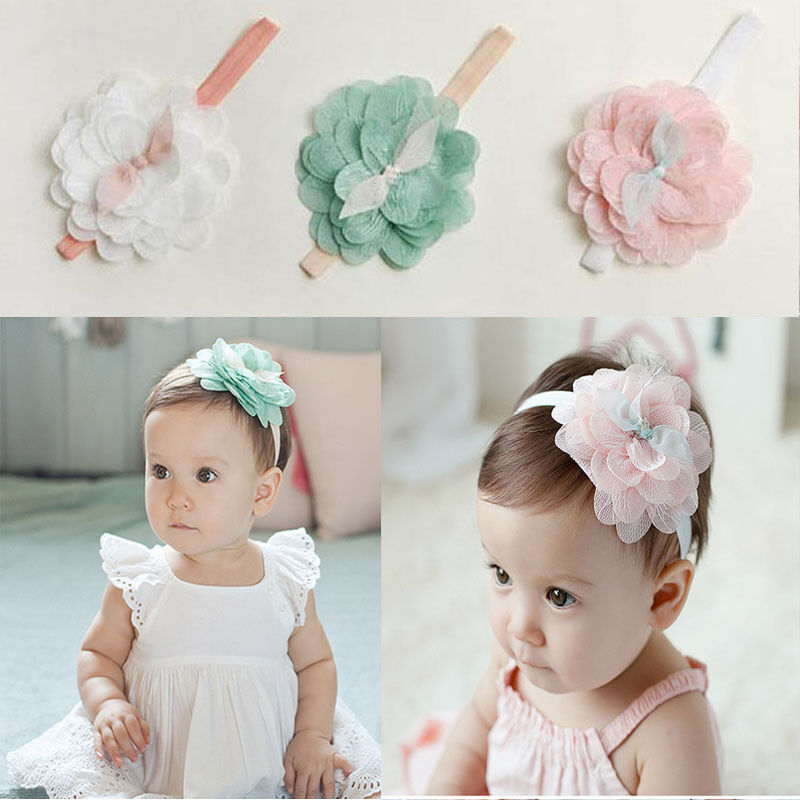 7PCS Charm Kids Girl Baby Headband Toddler Lace Bow Flower Hair Band Accessories