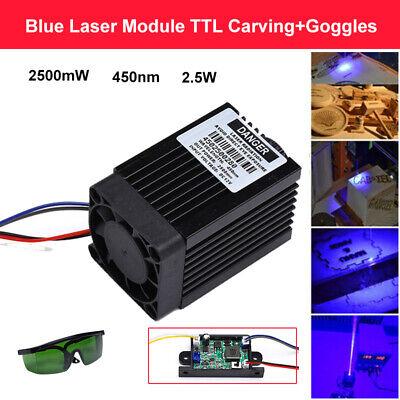 Laser-modul (Fokussierbares 2.5w 450nm 2500mW blaues Laser Modul DIY + Schutzbrillen)