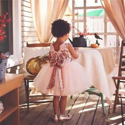 Girls Sequin Dress (Baby Girl Dress Princess Lace Sequin Bow Tutu Birthday Wedding Gown Party)