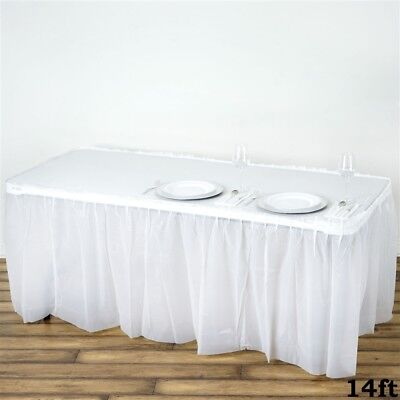14 ft White PLASTIC TABLE SKIRT Disposable Wedding Party Cat