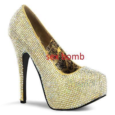 Sexy Zapatos de Salón Pedrería Plataforma Invisible Talón 14,5 Desde 36 42...