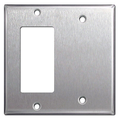 Gfci Metal Wall Plate - (5 pc) 2-Gang GFCI Decorator / Blank Stainless Steel Combo Metal Wall Plate