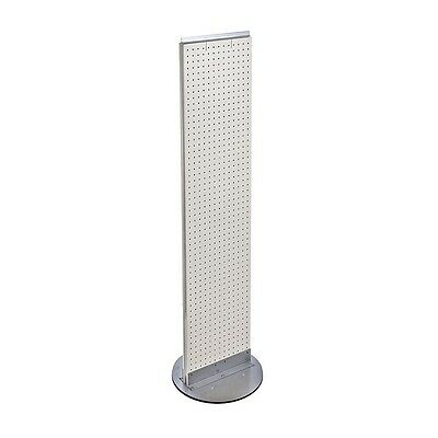 White Pegboard Floor Display Stand Revolving Base 13.5 W X 60 H