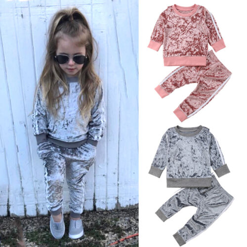 Christmas Toddler Kids Baby Girl Velvet Top Sweatshirt Pants