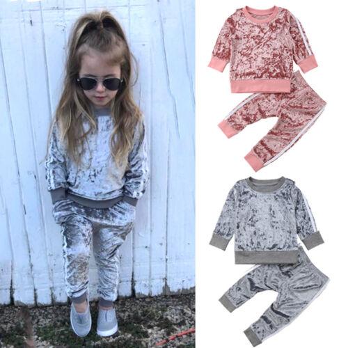 Autumn Toddler Kids Baby Girl Velvet Top Sweatshirt Pants Ou