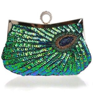 Las Pea Clutch Bag Sequin Handbag Purse Wedding Prom Evening Party