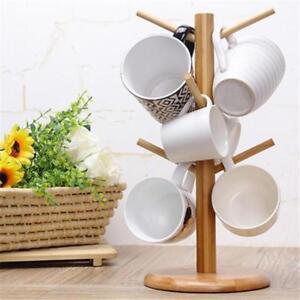 Tree Rack Mug Cup Holder Wood Stand Coffee Tea Storage Wooden Kitchen Display S