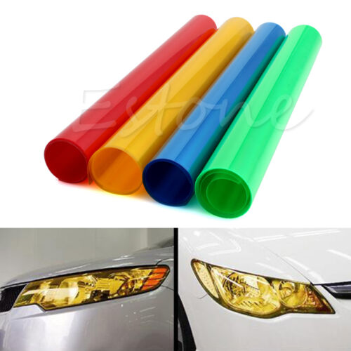 "12""x40"" RGB Yellow Car Tint Headlight Taillight Fog Light Vinyl Smoke Film Sheet"
