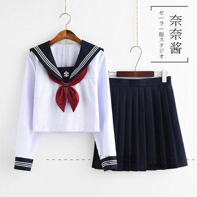 Japanese School JK Uniform Summer Girls Sailor Suit Blouse + Pleated Skirt - Sailor Suit