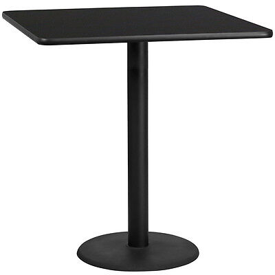 42 Square Black Laminate Table Top With 24 Round Bar Height Base
