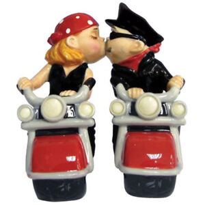 Motorcycle Biker Couple Kissing Magnetic Salt&Pepper Shakers NEW