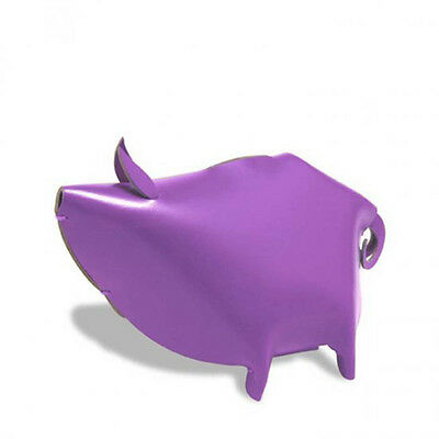 Piggy Bank Violet Leather Medium Desk Organizer Office Or Home By Vacavaliente