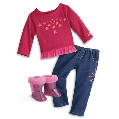 American Girl Starry Outfit With Sparkling Pink Boots For Dolls Brand New - Sparkle Boots For Girls