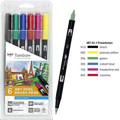 Tombow Dual Brush Pen ABT-6C-1 Grundfarben
