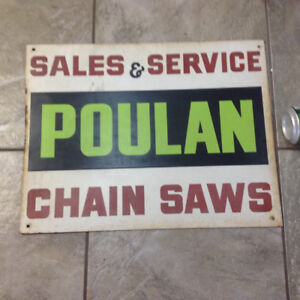 Metal Poulan chain saws sign