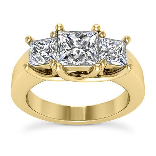 Three Stone 1.45 Carat G VS Princess Diamond Engagement Ring 14K Yellow Enhanced