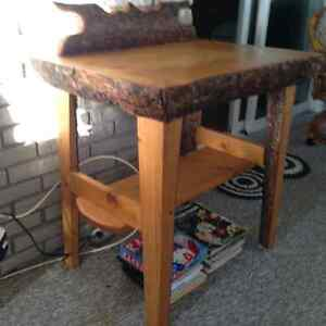 Homemade pine desk and matching chair